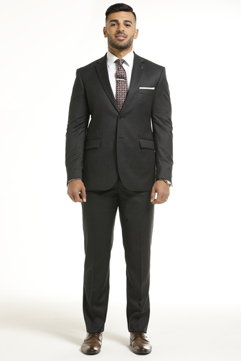 Men's Designer Dark Grey Faint Heeringbone Pattern 2 Piece Suit - Size 44R/30 - $499.00 Retail