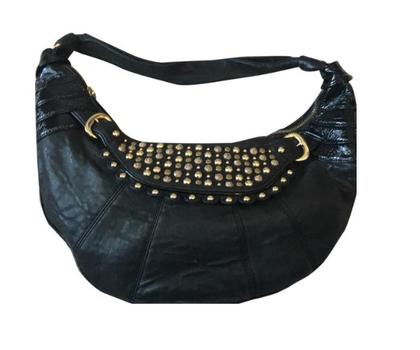 Betsey Johnson  Handbag Black Leather Gold Studded Hobo MSRP $199