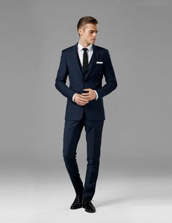 Men's Designer Dark Blue/Black 2 Piece Wool Blend Suit Size 40R/32 - $699.00 Retail