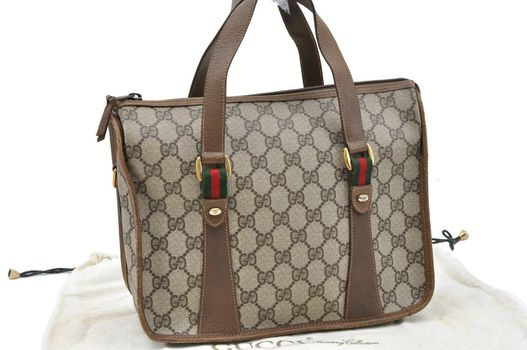 $100 PRICE DROP GUCCI Web Sherry Line Handbag GG Leather Brown $2799