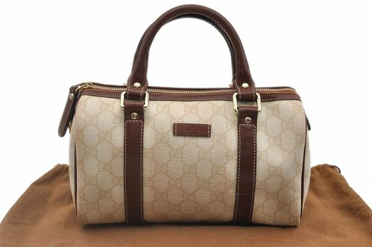 GUCCI Speedy Handbag GG Petite Leather Ivory Brown MSRP $2799
