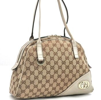 GUCCI Hand Bag GG Canvas Leather Brown