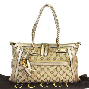 GUCCI GG Pattern Bamboo Shoulder Bag Canvas Leather Brown Italy