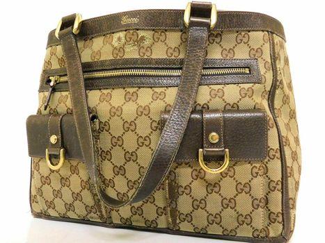 Gucci GG Monogram  Sac Handbag Leather Trim Shoulder Canvas