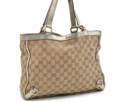 GUCCI Tote Handbag Canvas Leather Brown Gold MSRP $2299