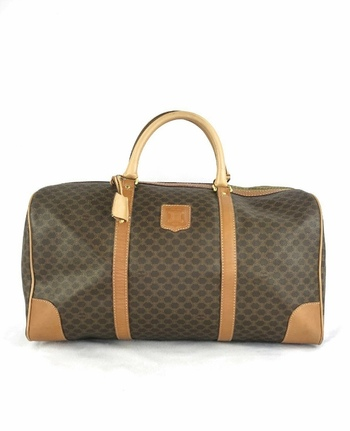 CELINE Brown Macadam Weekender Duffle Handbag With Lock and Keys