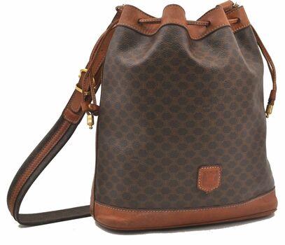 CELINE Bucket  Pattern Shoulder Bag Leather  Trim Brown