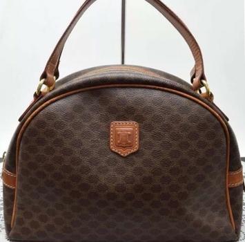 CELINE Logos Macadam Pattern Logos Handbag Leather Trim With Dust Bag