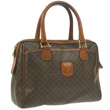 CELINE Macadam Pattern HandBag Brown Leather Trim