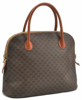 CELINE Macadam Pattern Handbag Leather Classic Marga Handle Trim Brown