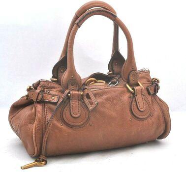 Chloe Paddington Leather HandBag Duffel Brown