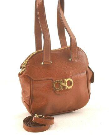 Ferragamo Gancini Leather Shoulder Hand Bag 2Way Cognac