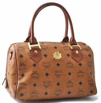 MCM Cognac Visetos  Speedy Leather HandBag