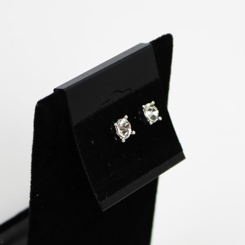 "1/4"" Silver Tone Rhinestone Post Earrings"
