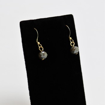 Faceted gray bead dangle earrings