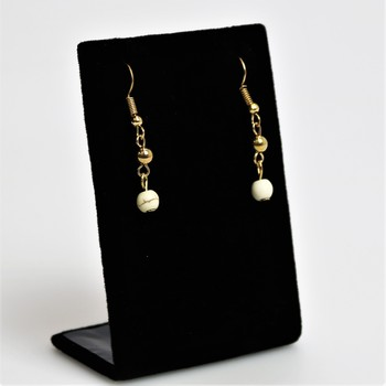 White/Gold marbled gold tone drop earrings