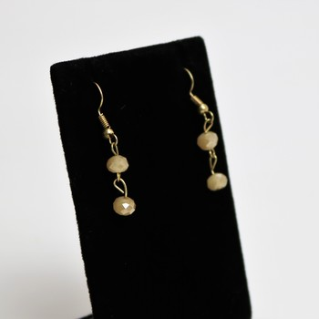 Faceted champagne bead gold tone earrings