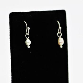 Faux Irregular Pearl Silver Tone Earrings
