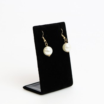 Faux pearl drop gold tone earrings