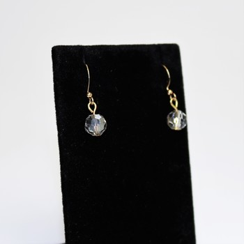 Faceted clear stone gold tone earrings