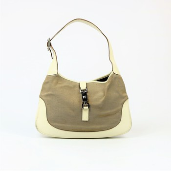 Gucci Jackie Top Handle White Leather Shoulder Bag