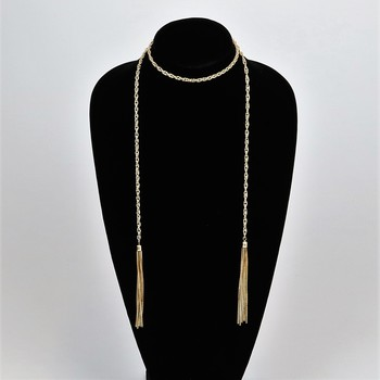 Gold Tone Tassel Wrap Necklace