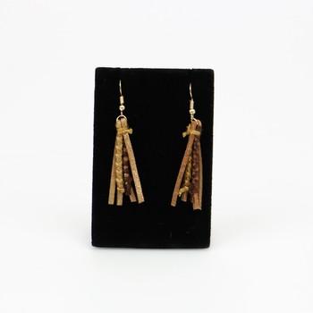 Faux Brown Leather Strands Hook Earrings