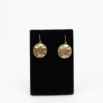 Antique Gold Tone Hammered Disk Earrings