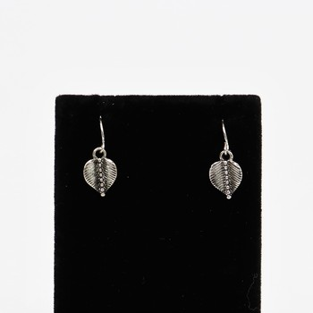 Antique Silver Leaf Hook Earrings
