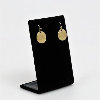 Small Hammered Gold Tone Circle Hook Earrings
