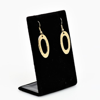 Gold Tone Oval Dangle Earrings
