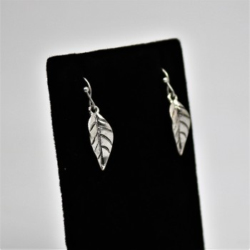 Antique Silver Tone Leaf Earrings