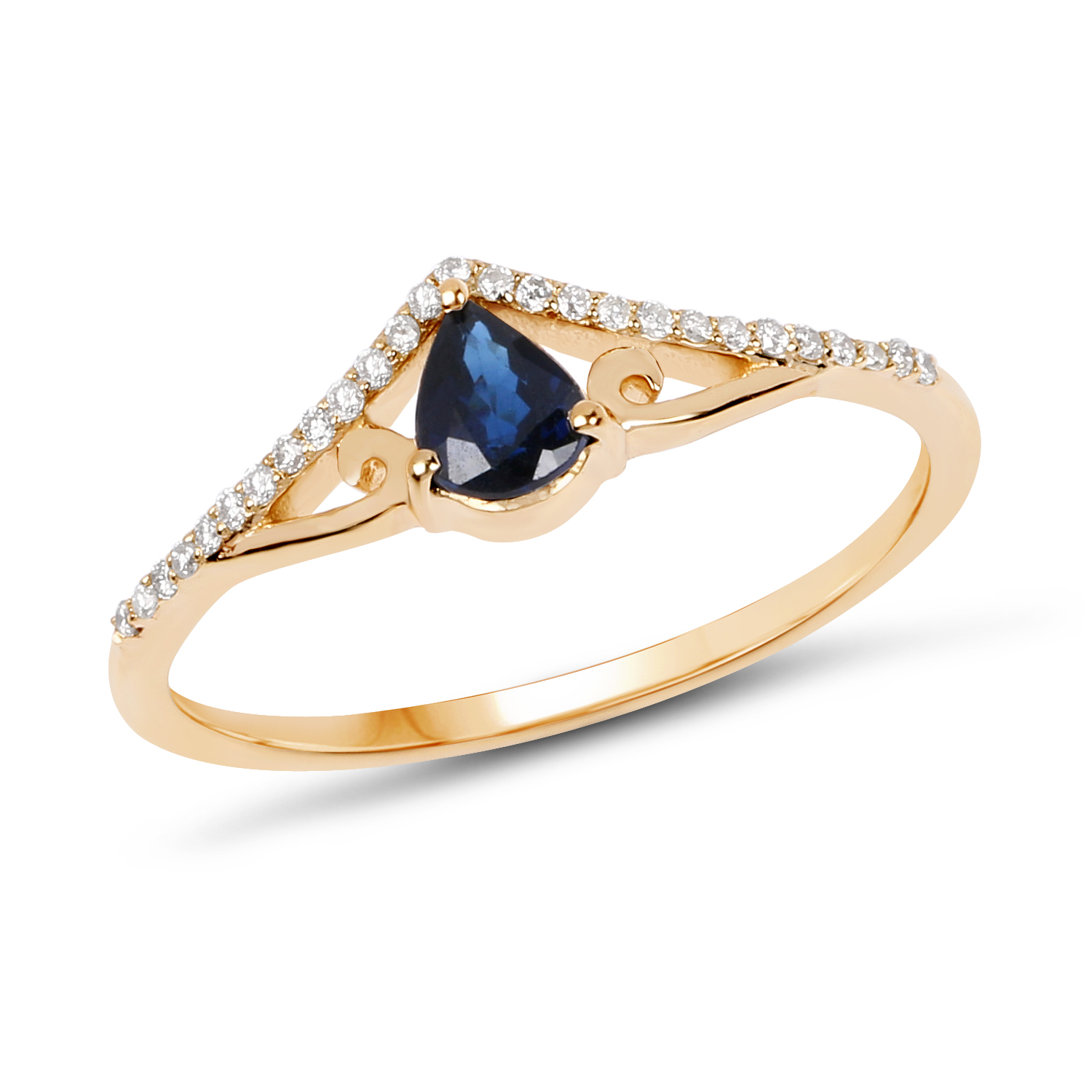14k Yellow Gold 0 38 Carat Blue Shire And White Diamond Ring Size 7