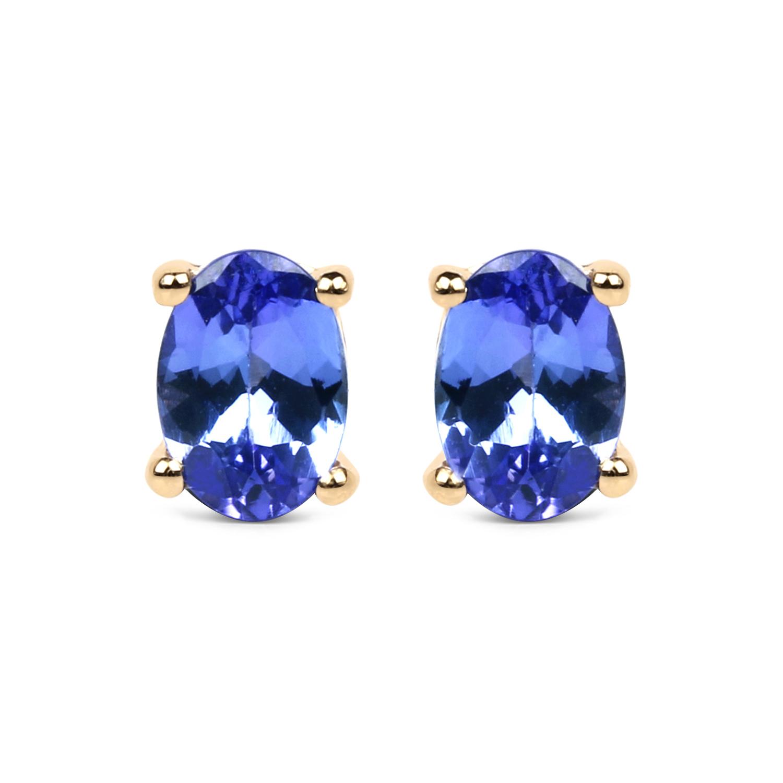 Image 1 Of 3 14k Yellow Gold 14 Carat Tanzanite Earrings