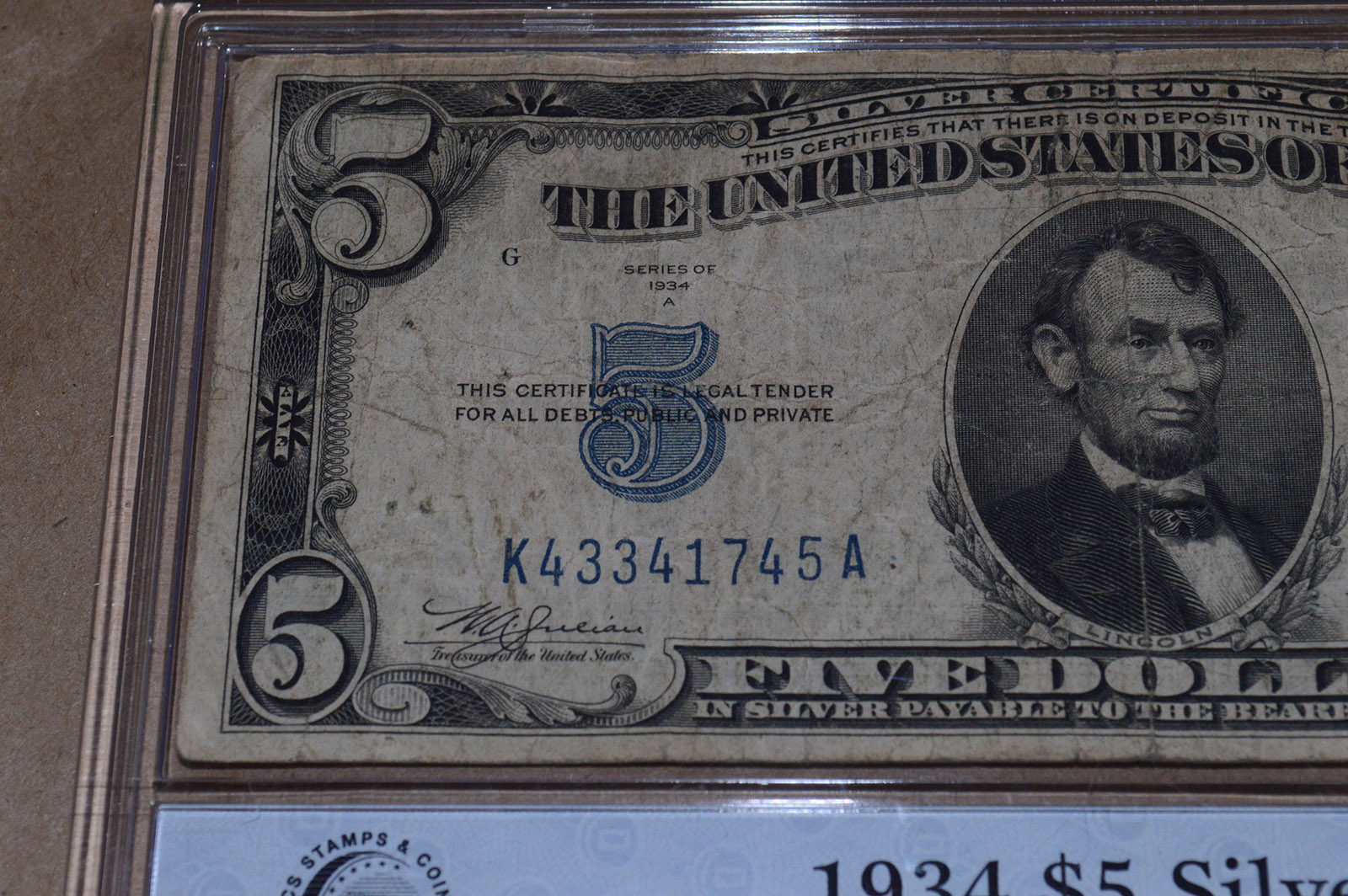 1934 5 Silver Certificate Yellow Seal Wwii North Africa Issue
