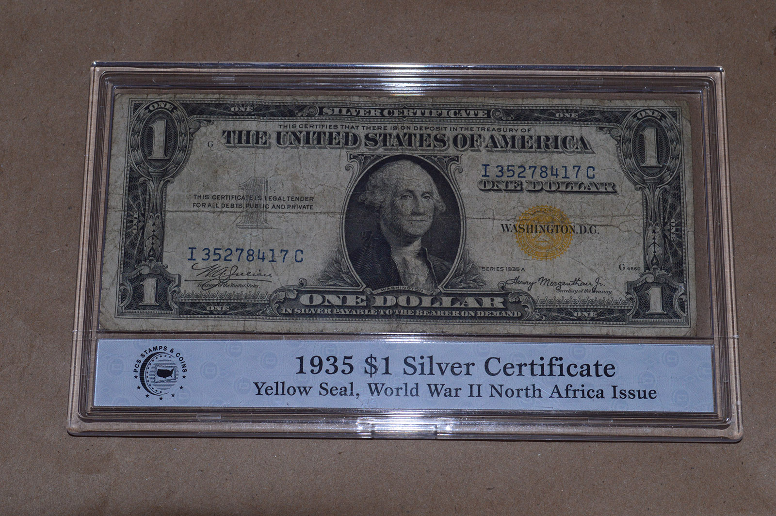 1935 1 Silver Certificate Yellow Seal Wwii North Africa Issue