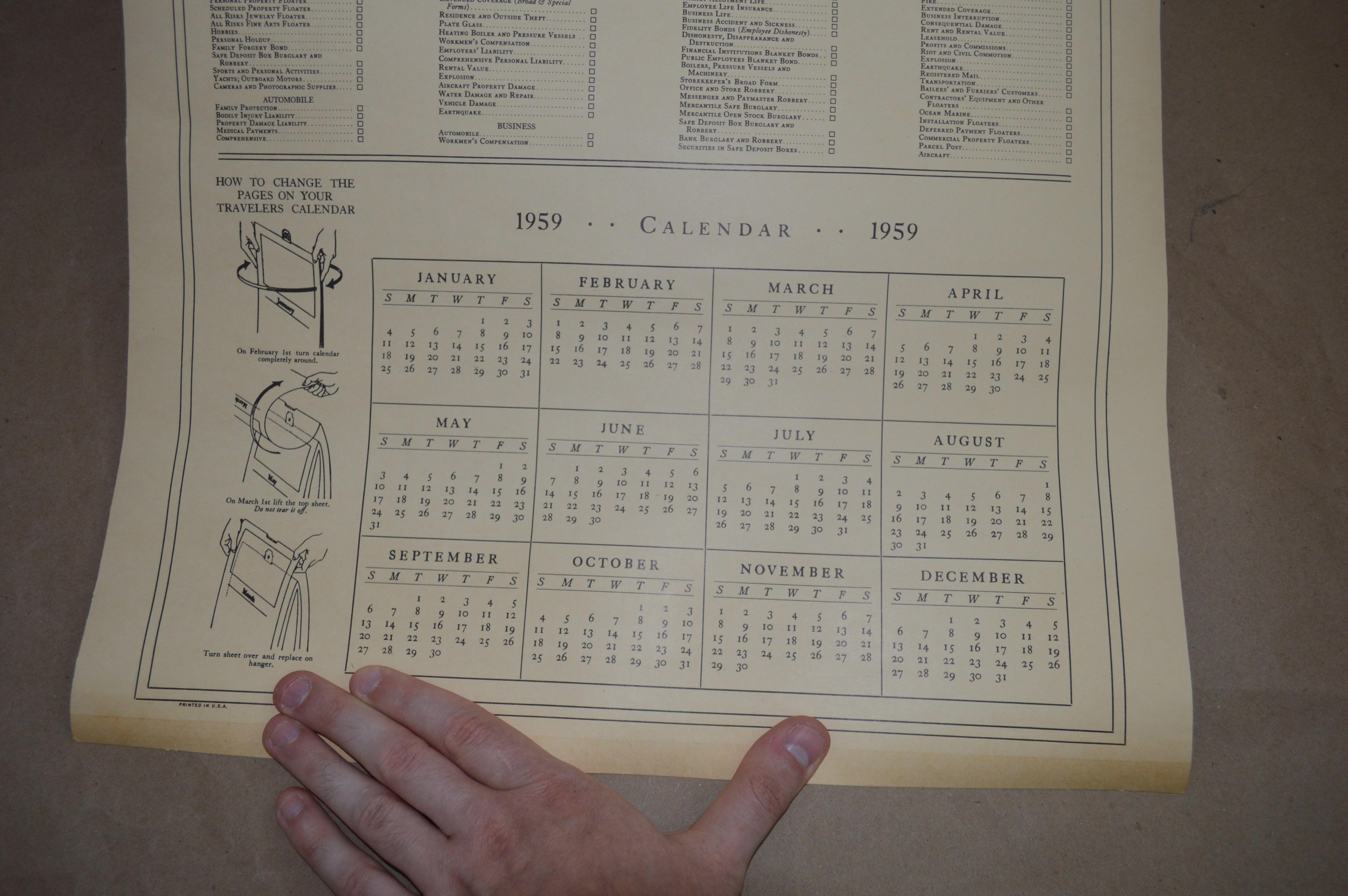 1959 Calendar.A Few Facts About The Travelers 1959 Calendar Property Room