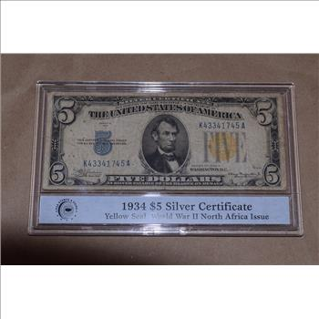 1934 $5 Silver Certificate Yellow Seal WWII North Africa Issue ...