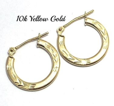 10k Real Yellow Gold (Not Plated) Diamond Cut Hoop Earrings