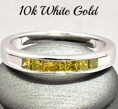 10k White Gold, 0.40ctw Natural Vivid Yellow Diamond Ring Size 7