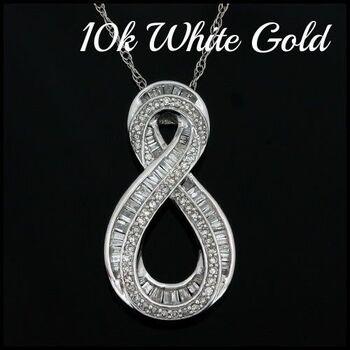 10k White Gold, 0.75ctw Natural Diamond Necklace