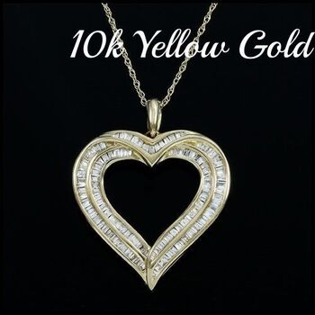 10k Yellow Gold, 0.50ctw Genuine Diamond Necklace with Heart Shape Pendant