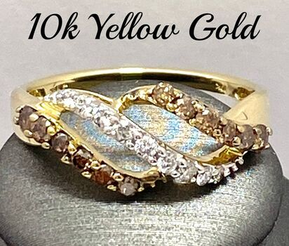 10k Yellow Gold, 0.50ctw Natural Fancy Brown & White Diamond Ring Size 7