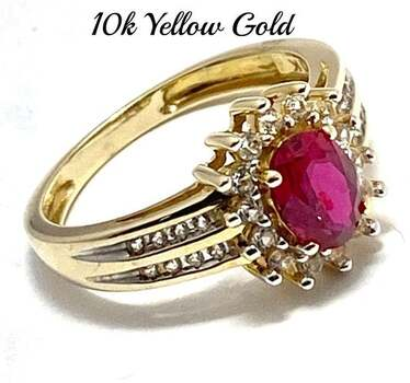 10k Yellow Gold, 1.0ctw Ruby & 0.35ctw White Sapphire Ring Size 7
