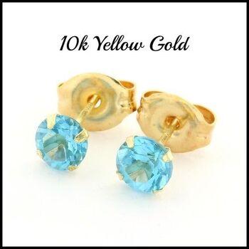 10k Yellow Gold, 4mm Blue Topaz Stud Earrings