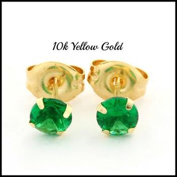 10k Yellow Gold, 4mm Emerald Stud Earrings