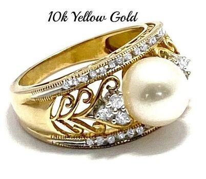 10k Yellow Gold, 7mm White Pearl & 0.25ctw White Sapphire Ring Size 7