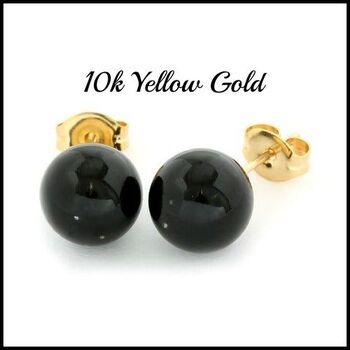 10k Yellow Gold Onyx 8mm in Diameter Stud Earrings