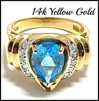 14k Yellow Gold, 0.20ctw Natural Diamond & 3.5ctw Blue Topaz Ring Size 6