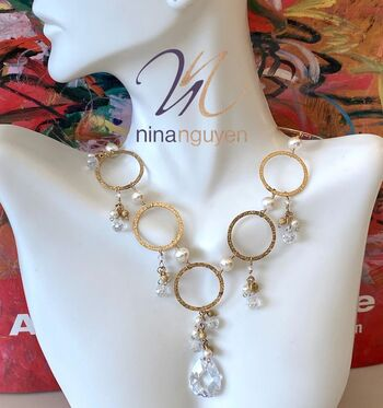 Designer Nina Nguyen 14k Gold Filled Hammered Circles, Joined with Genuine White Topaz & Freshwater Pearls Necklace
